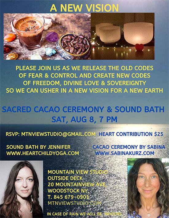 Sacred Cacao Ceremony Sound Bath August 8, 2020